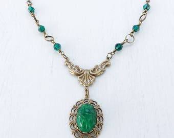 Scarab Beetle Art Nouveau Necklace, Vintage Inspired Emerald Green Beetle Assemblage Necklace, Egyptian Necklace, Green Crystal Necklace