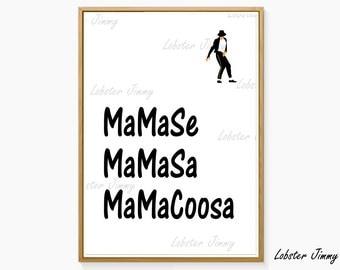 Michael Jackson Art, Mama Se Mama Sa Mama Coosa, Wanna Be Startin Something, Lyrics Wall Poster, Digital Art, Print at Home, Thriller Decor