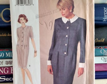 1994 The Vogue Woman Sewing Pattern # 8942-DRESS-Below Mid-Knee-Loose-Fitting-Tapered-Contrast Collar & Cuffs-Sz 12-16-Bust 34-38-UNCUT