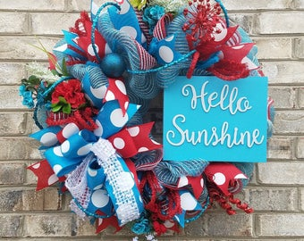 Turquoise mesh wreath, red mesh wreath, summer mesh wreath, turquoise and red wreath, summer wreath, spring wreath, spring mesh wreath