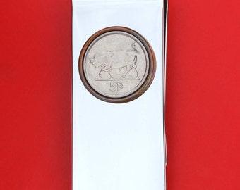 1992 ~ 2000 Irish Ireland 5 Pence Bull Coin Solid Brass Silver Money Clip New