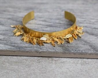 gold leaf cuff, brass leaf cuff, simple gold cuff, gold stacking bracelet