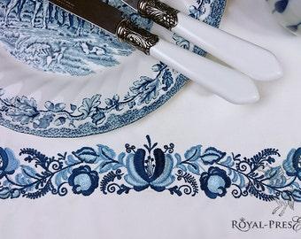 Machine Embroidery Design Blue Gzhel Border