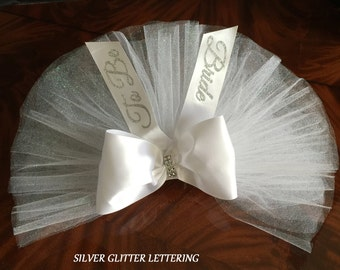 Bridal Booty Cover, Bachelorette Booty, Easily attaches to anything with a waistband PERSONALIZED by Val's Veils
