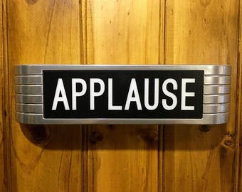 Lightup 1930s Replica APPLAUSE Sign old chrome style with black lens remote control and mounting hardware