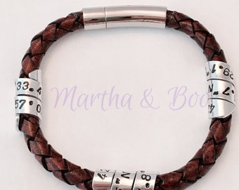 Personalised men's braided leather bracelet, coordinates jewellery, secret message, woven leather, spiral jewelry, handstamped, couples gift