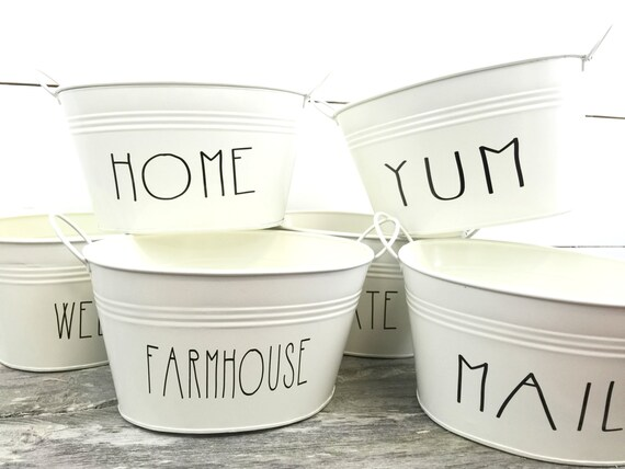 Metal Tins Farmhouse Decor Mail Holder Metal Buckets