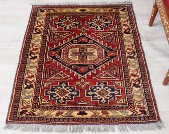 "The 4' 7"" x 2' 9"" Kazak from Afghanistan Caucasian style Afghan carpet  rug No:514"