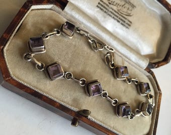 Vintage Silver Amethyst Bracelet, stunning piece