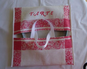 Pie purse vintage red and white, Interior cloth in cotton canvas coated;