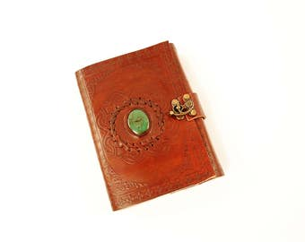 Handmade Green Colored Stone Tooled Leather Blank Journal, Diary, Sketch or Notebook Book