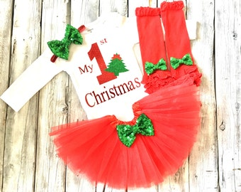Baby girl first christmas outfit, 1st christmas outfit, red green christmas outfit, baby girl christmas outfit, christmas onesie, tutu
