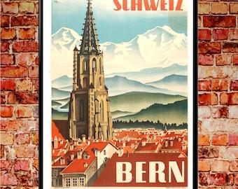 Bern 1935 Poster Vintage Bern Poster Bern Print Swiss Art Poster Swiss Print Switzerland Wall Art Vintage travel Print
