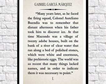 Gabriel García Márquez Book Wall Art One Hundred Years of Solitude Literary Quote Literature Quote Book Quote (sizes up to 50cm x 70cm)