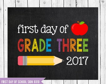Grade Three Sign, First day of school sign printable, Back to School Printable Sign, First day of grade three, Grade 3 Chalkboard sign