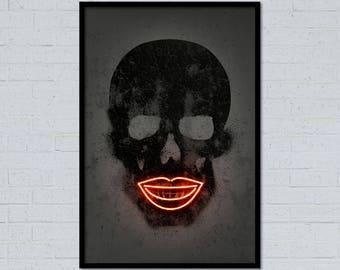 Skull art Skull print skull poster lips art neon art neon sign street art graffiti art stencil art home decor gift for him wall decor