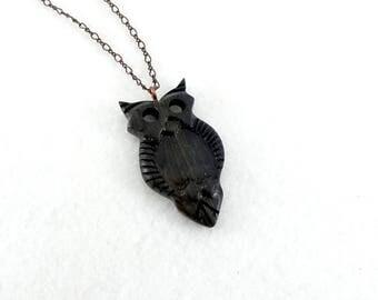 Wooden owl pendant, black owl carbed in fairtrade ebony