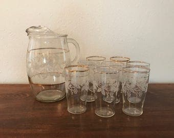 Grapevine Pitcher and 8 Glasses - Mid-Century