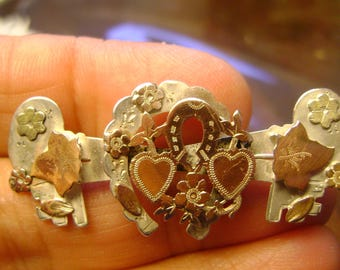 ANTIQUE VICTORIAN  KEYS to my  Heart Silver & gold Brooch,c 1900