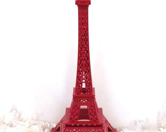 Bright Festive Red Eiffel Tower  Replica, Statue, Centerpiece, Cake Topper