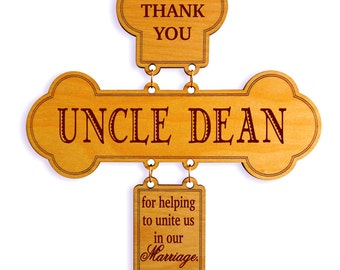 Wedding Officiant Gift,Wedding Thank You Cross,Custom Wedding Celebrant Gift, Uncle/Aunt/Brother Appreciation Gift on our Wedding,DWO011
