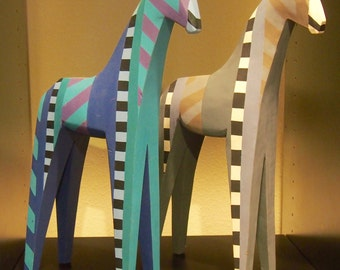 Pair of Hand Painted Wooden Giraffes