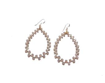 GRETA EARRING * grey opal and gold Swarovski wrap earring