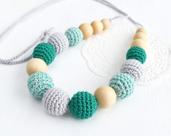 Nursing Necklace  Teal Gray Teething Necklace - Emerald Grey Breastfeeding necklace - Mommy necklace - Baby Shower Gift