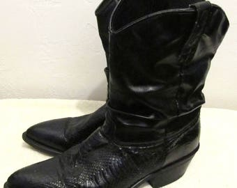 Men's Vintage 90's,Black SEA SNAKE Leather COWBOY Slouch Pirate Boots By LARED0.11