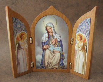 Our Lady of Providence Triptych Shrine with Blessed Virgin Mary and Jesus with angels icon