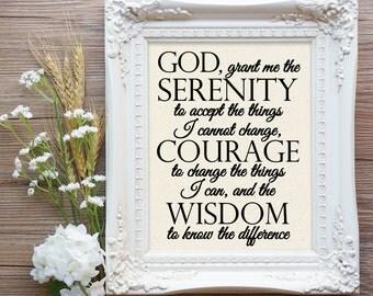 Serenity Prayer Canvas Sign, Serenity Prayer Print, AA Gift, Serenity Prayer Gift, Alcoholics Anonymous Gift, Al-anon Gift, Recovery Prayer