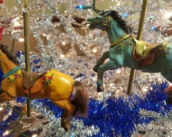 Antique Hand Painted Carousel Horse Christmas Ornaments With Brass Pole - Set of 2.
