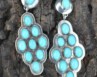 Navajo Sterling Silver Robin's Egg Turquoise Dangle Earrings - 2 1/4 inches long