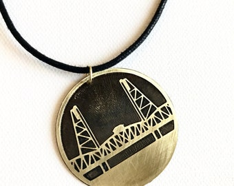Hawthorne Bridge Cord Necklace, Made in Oregon, Bridges of Portland, Brass Etched Necklace, Adjustable Corded Necklace, Hand Forged Necklace