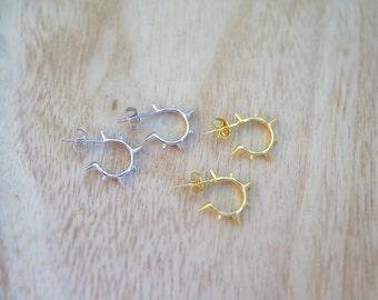 Sterling Silver spike earrings | Edgy earrings | Funky earrings | Huggies | Edgy huggie earrings | Punk rock earrings |