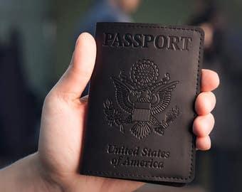 Passport Holder - Passport Cover - Black Leather Passport Case