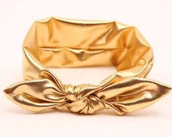 Baby Headband. Infant Headband. Knot Bow. Knot bow headband. newborn headband. Gold baby headband. baby headband. baby hair bow.