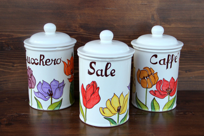 Barattoli cucina vasetti contenitori set di barattoli sale - Barattoli cucina colorati ...