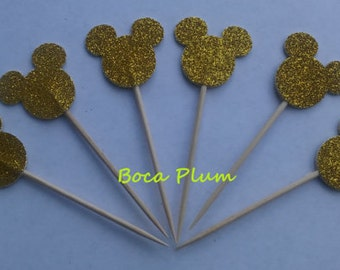 12 Mickey Mouse Gold Glitter Double Sided Cupcake Toppers, Appetizer Picks, Disney Party Food Centerpieces