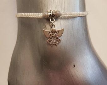 Angel anklet - angel - angel charm - memorial jewelry - anklet - ankle bracelet - adjustable anklet - foot jewelry - guardian angel