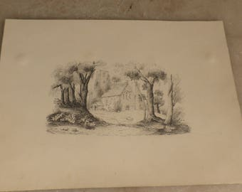 Antique small pencil drawing of church in wood by J Lawford dated 1840