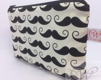 Black Moustache on Cream Small Make Up Bag or Moustache/Beard Maintenance Kit Bag