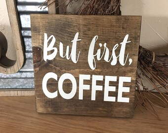 but first coffee helps sign hand painted sign wood sign coffee - Painted Wood Cafe Decoration