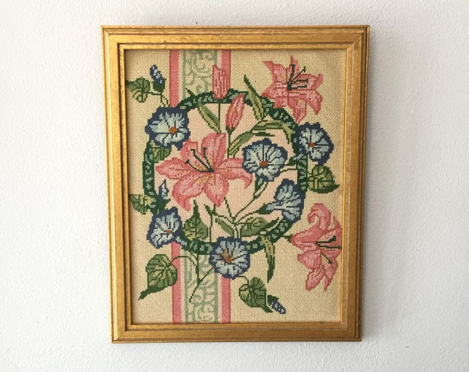 Framed Morning and Lilies Floral Needlepoint in Silver and Blue Frame