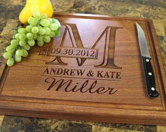 Personalized Chopping Block, 12x15~1&3/4 thick Walnut/Cherry/Sapele, Engraved Butcher Block  - Wedding, Anniversary, Housewarming Gift.003