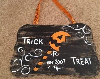 Killer Crafts - Samhain Sam Trick 'r Treat Wooden Plaque