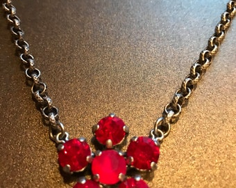 Made with Swarovski Crystal Daisy Necklace Ruby Red Crystals