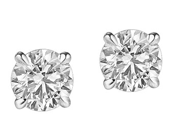 0.25ct Natural Round Diamond 14k White Gold 1/4ct Stud Earrings