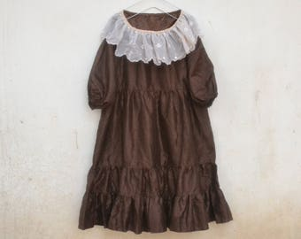 Vintage baby doll tunic dress, lace, tulle, flare, frill, brown, party dress, 70s, costume