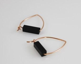 14K solid gold onyx earrings,14K black onyx hoop, 14k triangle hoop Earrings, 14k onyx hoop, 14k black earrings,14K black hoop, black onyx